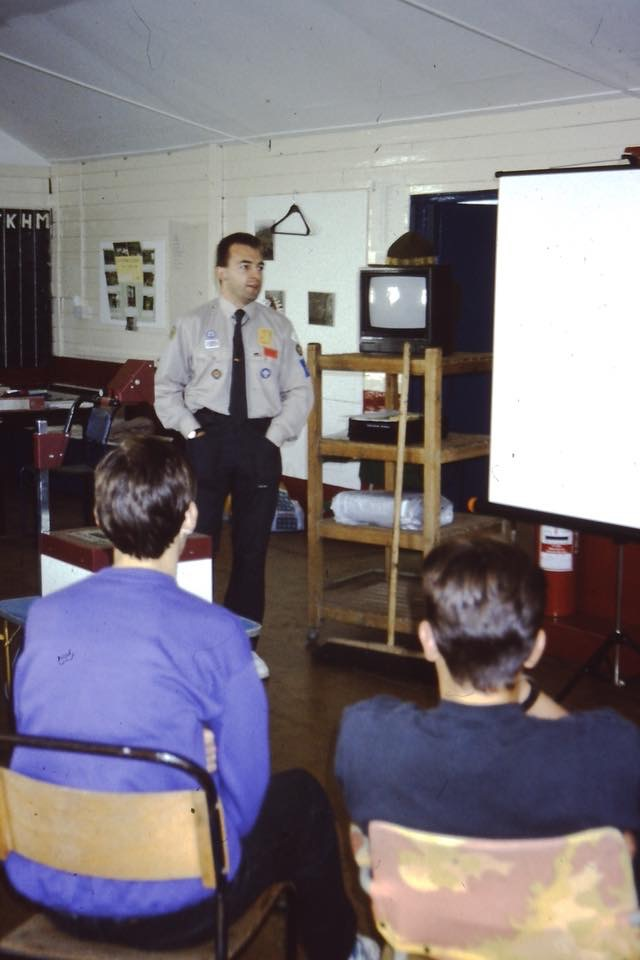 Clive Mason in the early 90s delivering Venture Scout executive training